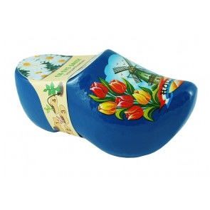 Flower clog 4,5 inch blue with ox-eye daisy.