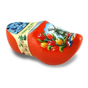Flower clog 4,5 inch orange with forget-me-not.