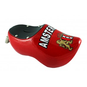 Wooden shoe money box red Amsterdam weapon.
