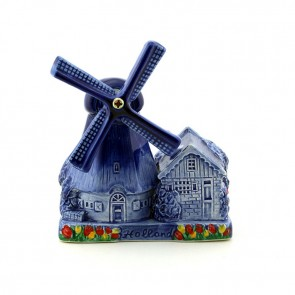 Delft blue polder mill small, decorated with tulips