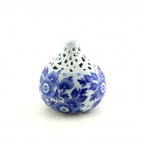 Delft blue vase narrow neck 4 inch wide.