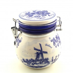 Delft blue storage jar.