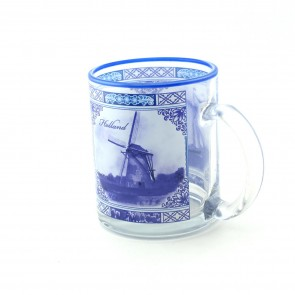 Mug glass with Delfts blue decor 3,5 inch.