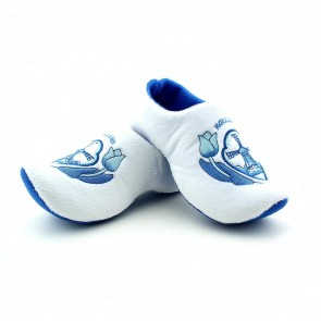 Wooden shoe slippers Delfts blue windmill.