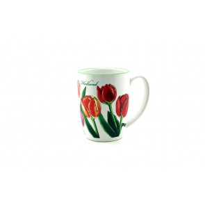 Mug decorated with tulips.