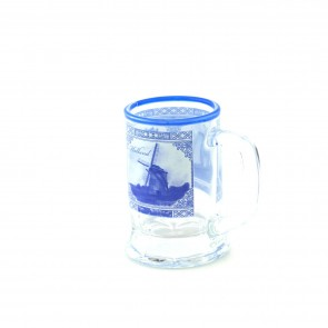 Shooter with Delft blue decoration and ear 2,5 inch.