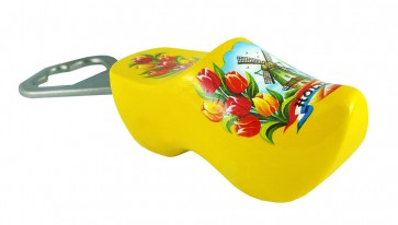 Bottle opener yellow with windmill and tulips.