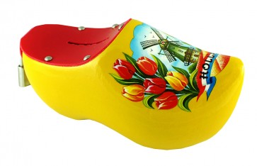 Wooden shoe money box yellow with windmill and tulips.