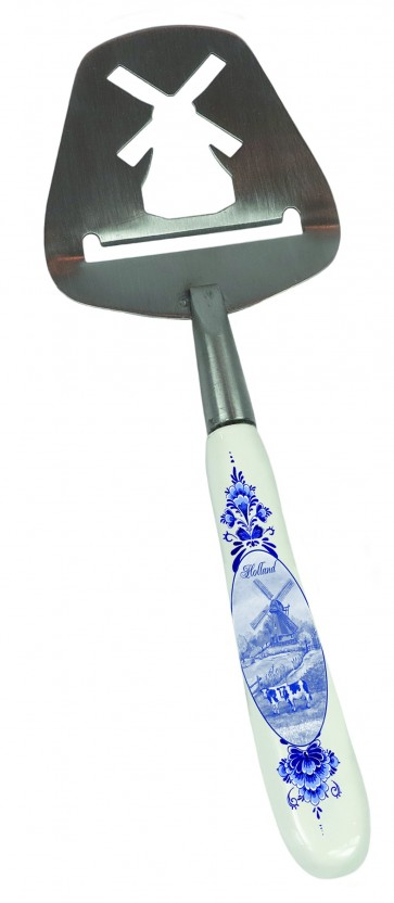 Cheese slicer Delft blue with windmill.