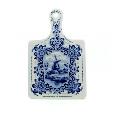 Delft blue ceramics cheese board with windmill big.