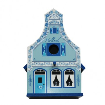 Birdhouse Delft blue with gable.