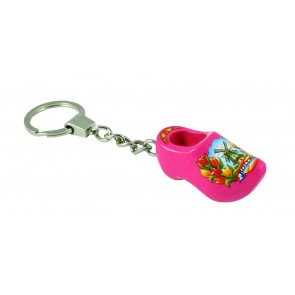 Wooden shoe key ring extra pink 1 clog 1,5 inch.