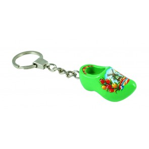 Key ring wooden shoe green 1 clog 1,5 inch