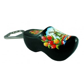 Bottle opener black with windmill and tulips