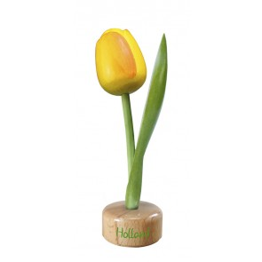 Wooden tulip pedestal yellow orange 8 inch high.
