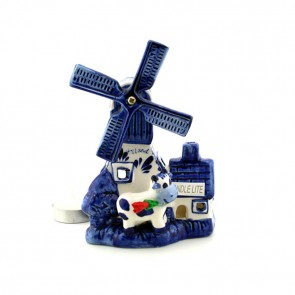 Delft blue windmill decorated with a cow