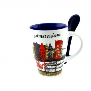 Mug with Amsterdam houses and spoon.